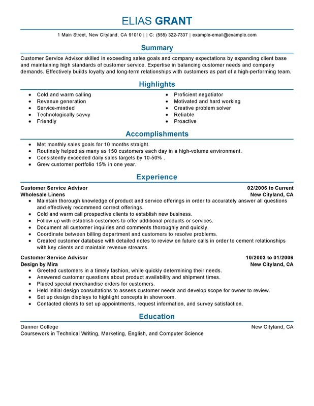 Customer Service Advisor Resume Examples -- Free to Try Today - technical advisor sample resume