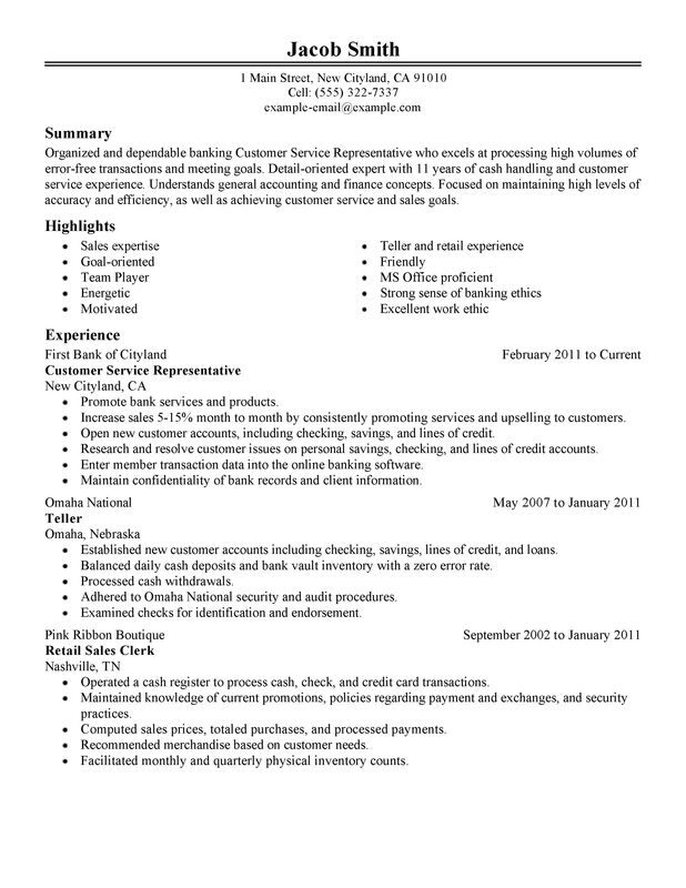 resume for bank customer service representative with no experience