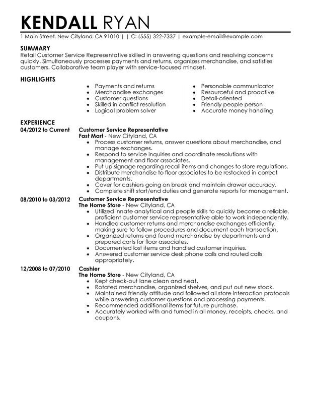 Customer Service Representative Resume Examples {Created by Pros - sample resumes for retail