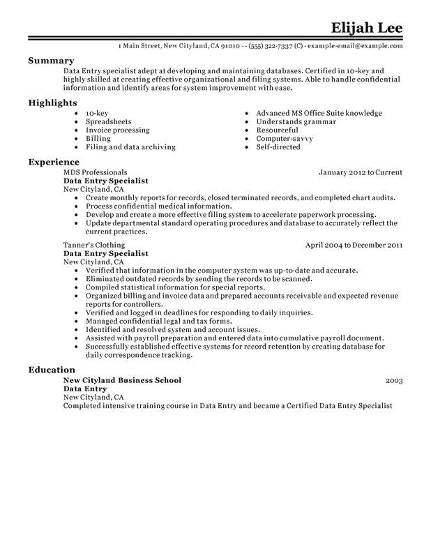 Data Entry Resume Examples \u2013 Free to Try Today MyPerfectResume - release of information specialist sample resume