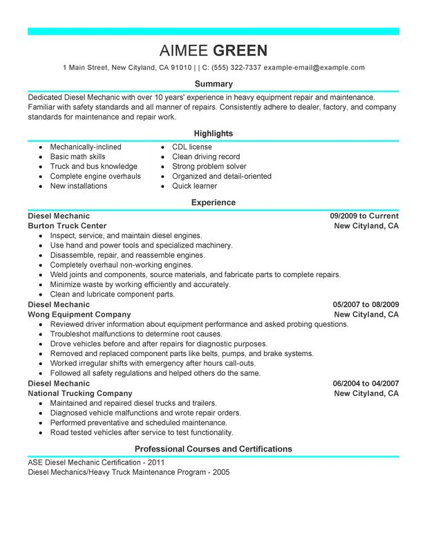 heavy equipment mechanic resume examples - Koranayodhya