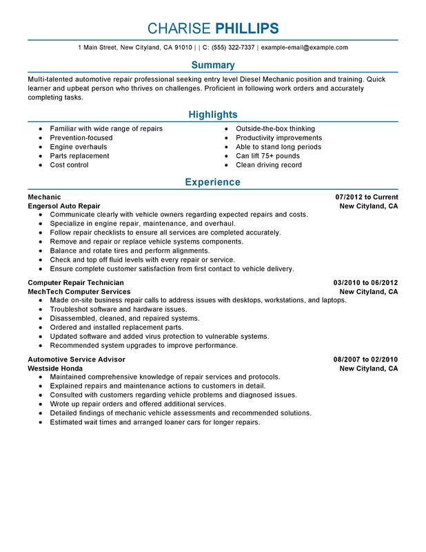 Entry Level Mechanic Resume Examples {Created by Pros} MyPerfectResume - vehicle repair sample resume