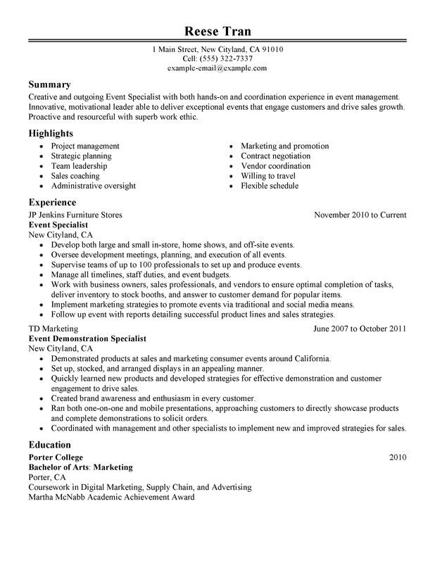 Event Specialist Resume Examples \u2013 Free to Try Today MyPerfectResume