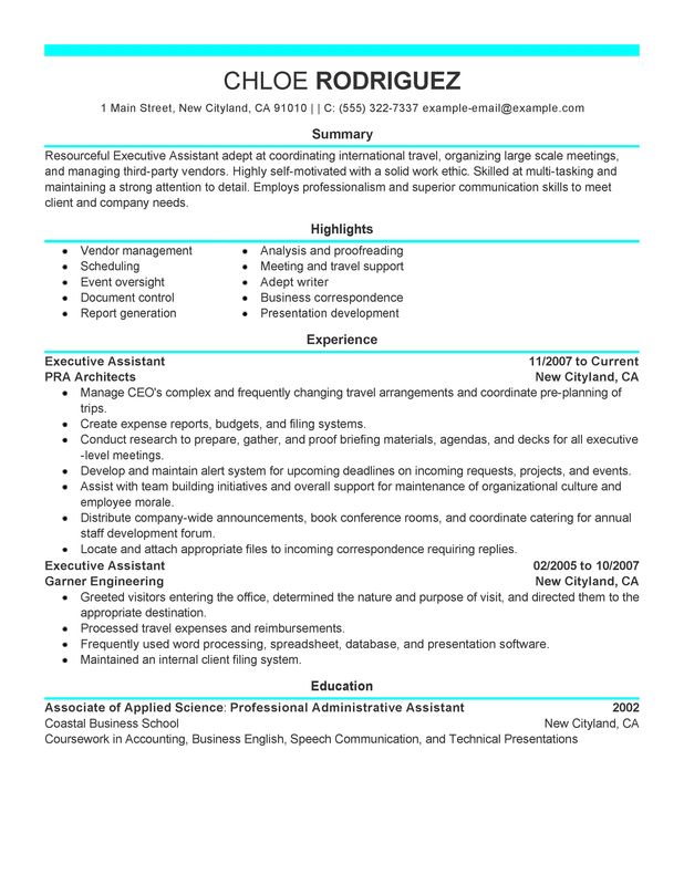 Executive Assistant Resume Examples {Created by Pros} MyPerfectResume - sample of resume for administrative position