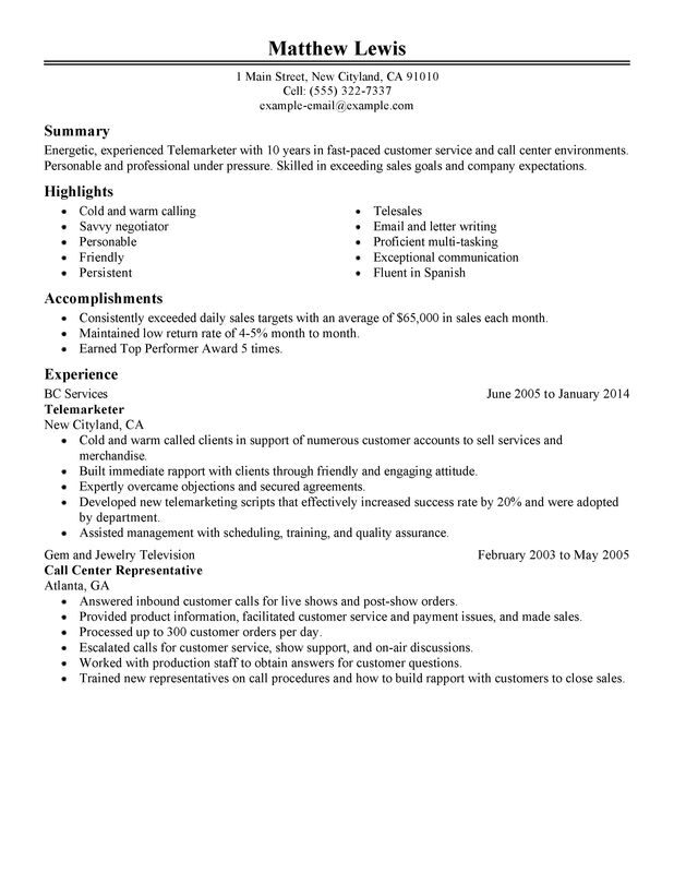 Unforgettable Experienced Telemarketer Resume Examples to Stand Out - Telemarketing Agent Sample Resume
