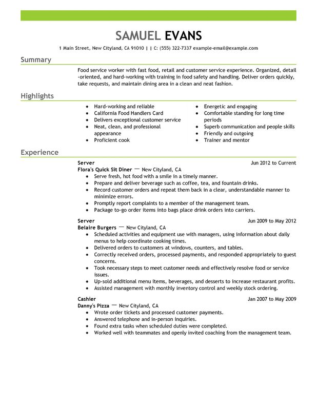 resume example for food sever