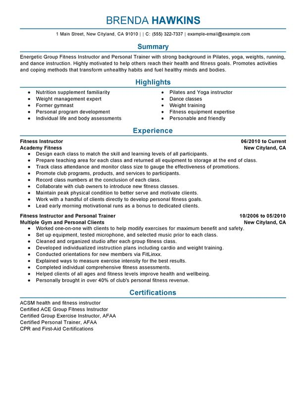Unforgettable Fitness and Personal Trainer Resume Examples to Stand - Group Fitness Instructor Resume
