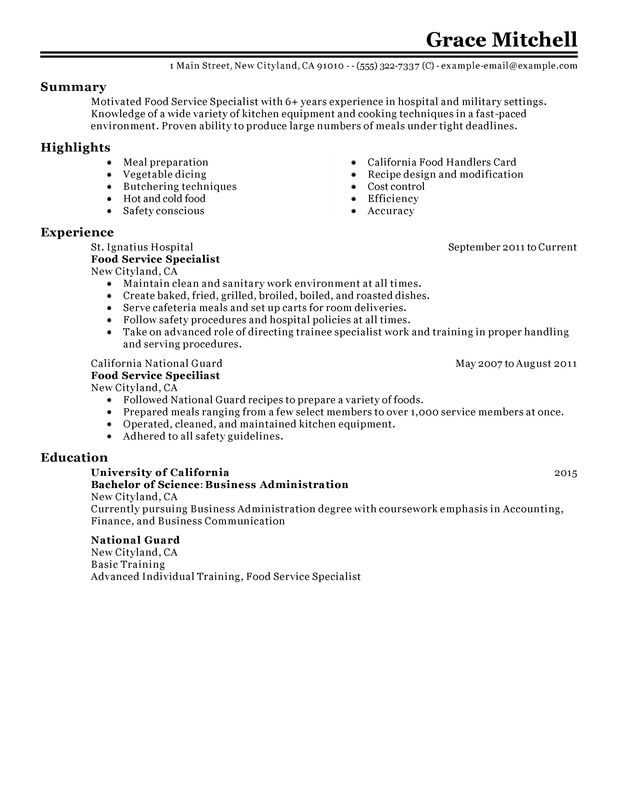 Food Service Specialist Resume Examples {Created by Pros - Food Service Resume Sample