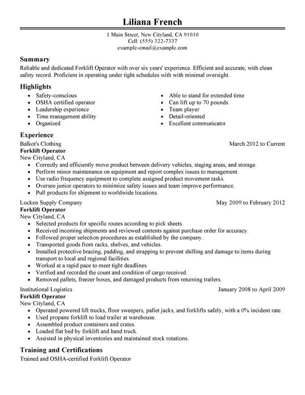 Unforgettable Forklift Operator Resume Examples to Stand Out - warehouse resume sample