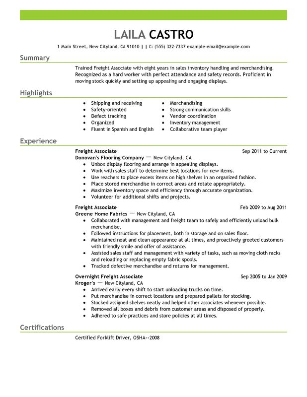 Unforgettable Freight Associate Resume Examples to Stand Out - inventory management associates resume