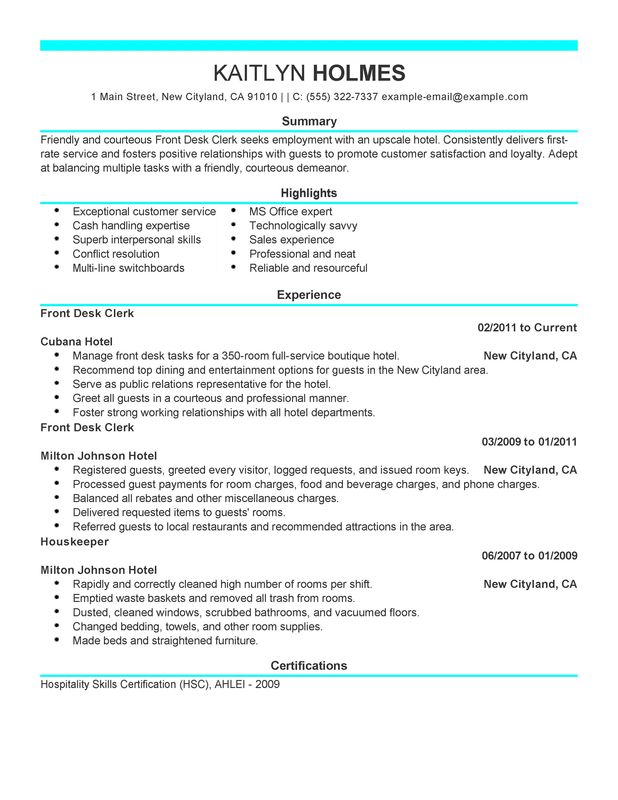 Front Desk Clerk Resume Examples {Created by Pros} MyPerfectResume - front desk receptionist resume sample