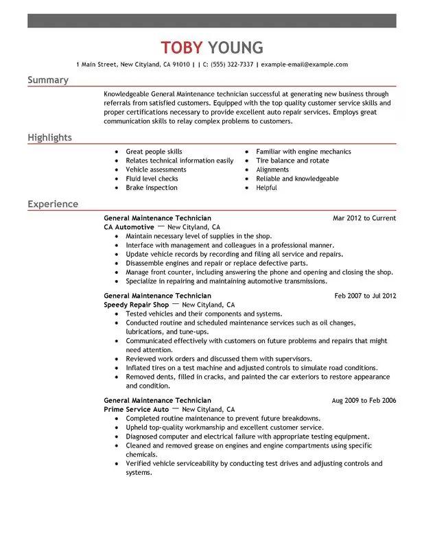 hospital maintenance resume examples