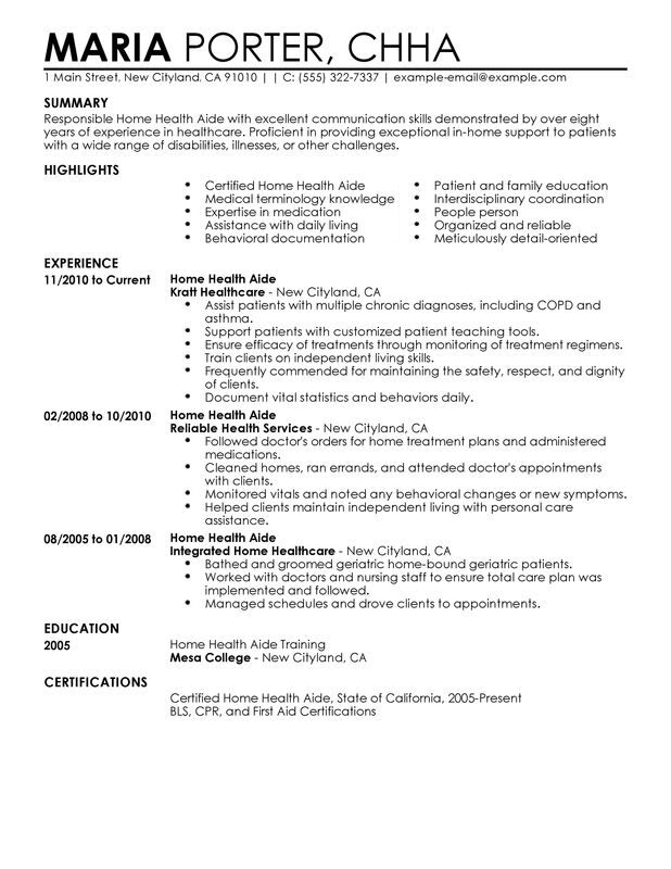 Home Health Aide Resume Examples \u2013 Free to Try Today MyPerfectResume - home care aide sample resume