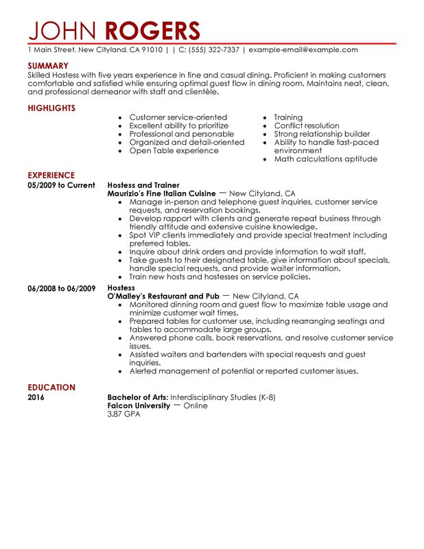 Host Hostess Resume Examples \u2013 Free to Try Today MyPerfectResume - in room dining server sample resume