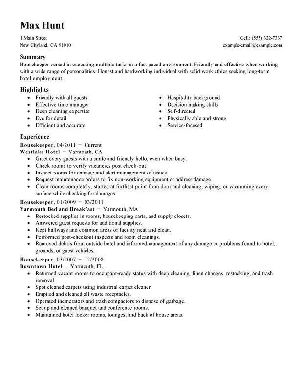 sample of resume for hotel housekeeper