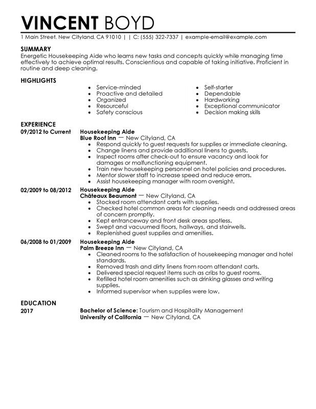 Housekeeping Aide Resume Examples {Created by Pros} MyPerfectResume - Resume For Housekeeping