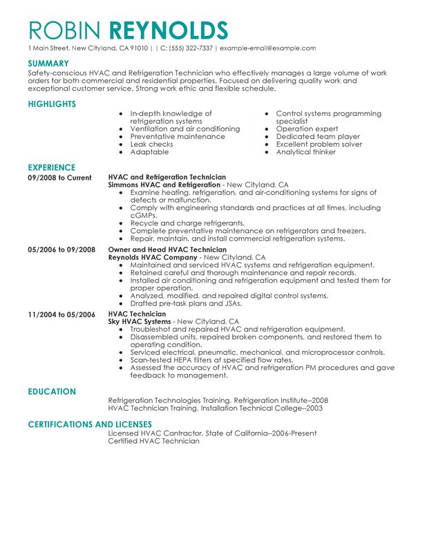 Unforgettable HVAC and Refrigeration Resume Examples to Stand Out - Refrigeration Mechanic Sample Resume