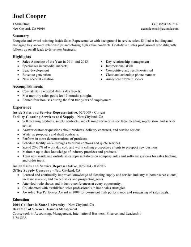 Inside Sales Resume Examples \u2013 Free to Try Today MyPerfectResume - Resume Creation