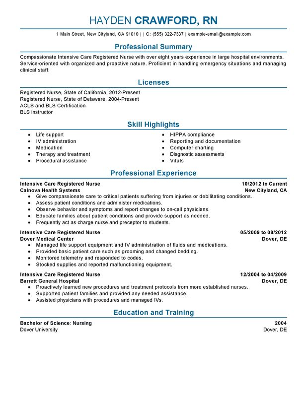 Unforgettable Intensive Care Nurse Resume Examples to Stand Out - sample resume for a nurse