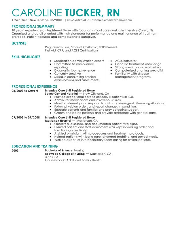 Unforgettable Intensive Care Unit Registered Nurse Resume Examples - sample resume for a nurse