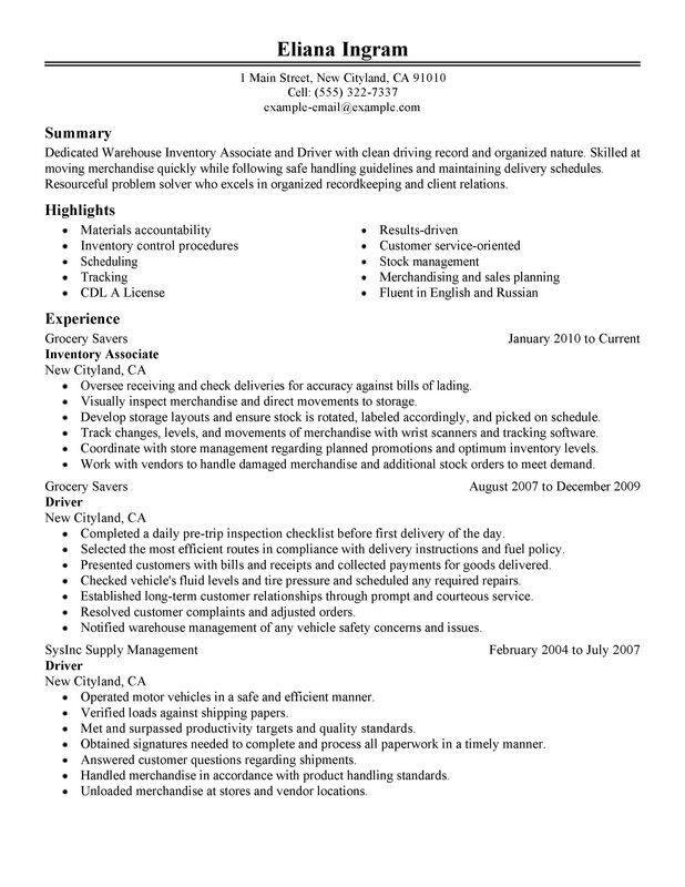 Inventory Associate and Driver Resume Examples \u2013 Free to Try Today - inventory associate sample resume
