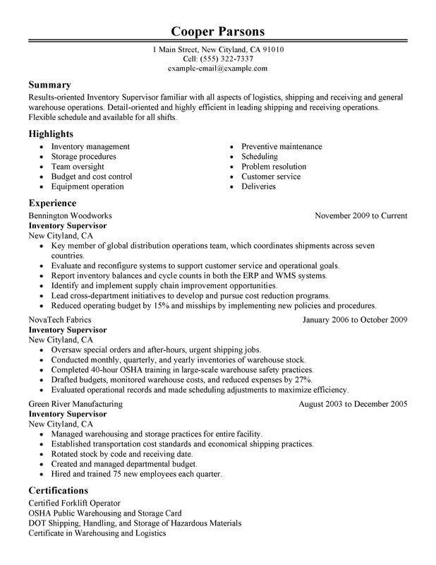 Unforgettable Inventory Supervisor Resume Examples to Stand Out - warehouse supervisor resume