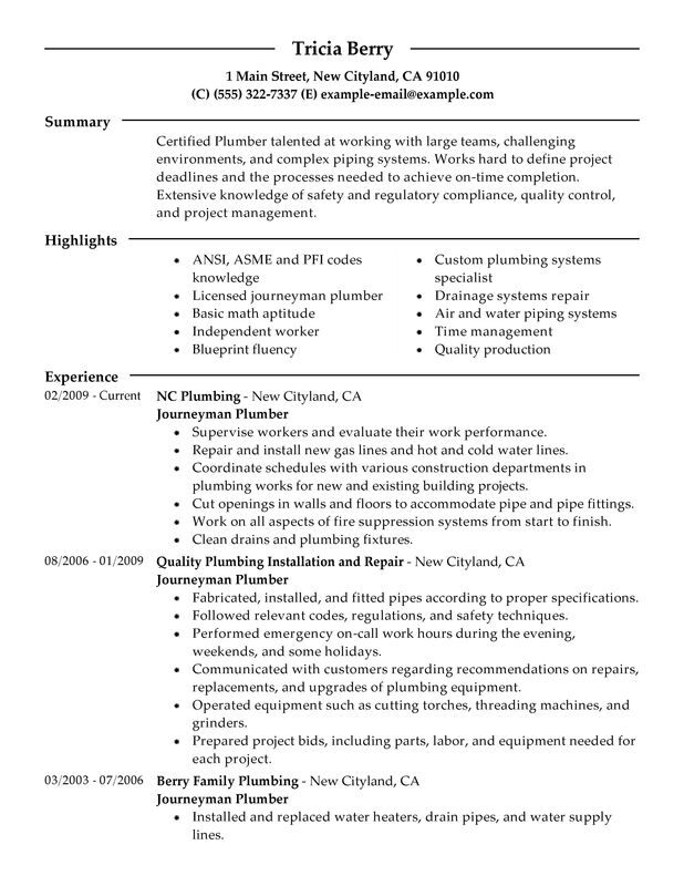 Journeymen Plumbers Resume Examples {Created by Pros} MyPerfectResume - Plumber Resume Template