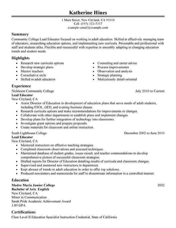 Unforgettable Lead Educator Resume Examples to Stand Out