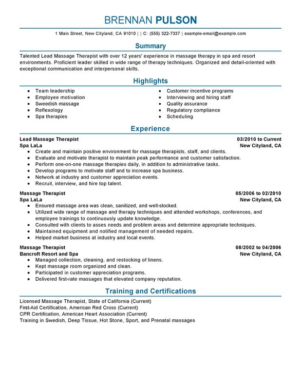 Unforgettable Lead Massage Therapist Resume Examples to Stand Out - sample massage therapist resume