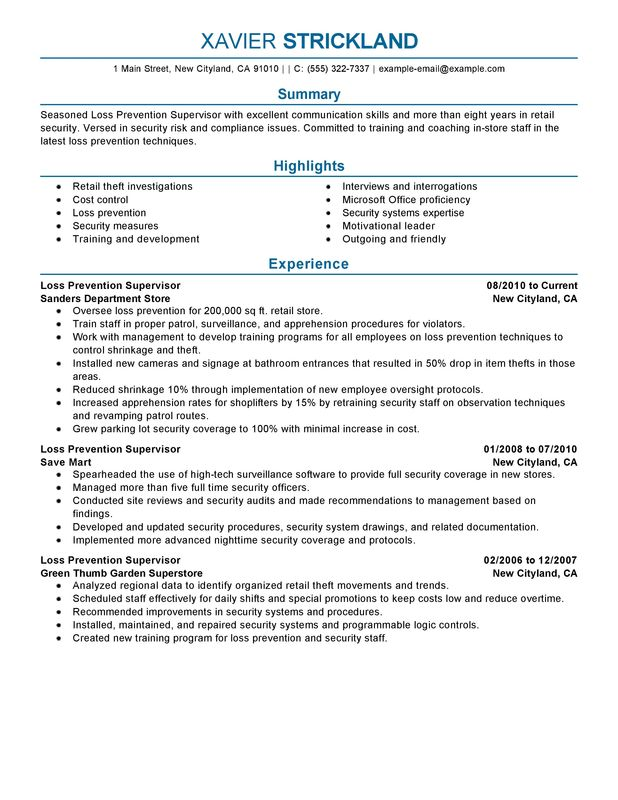 Loss Prevention Supervisor Resume Examples \u2013 Free to Try Today