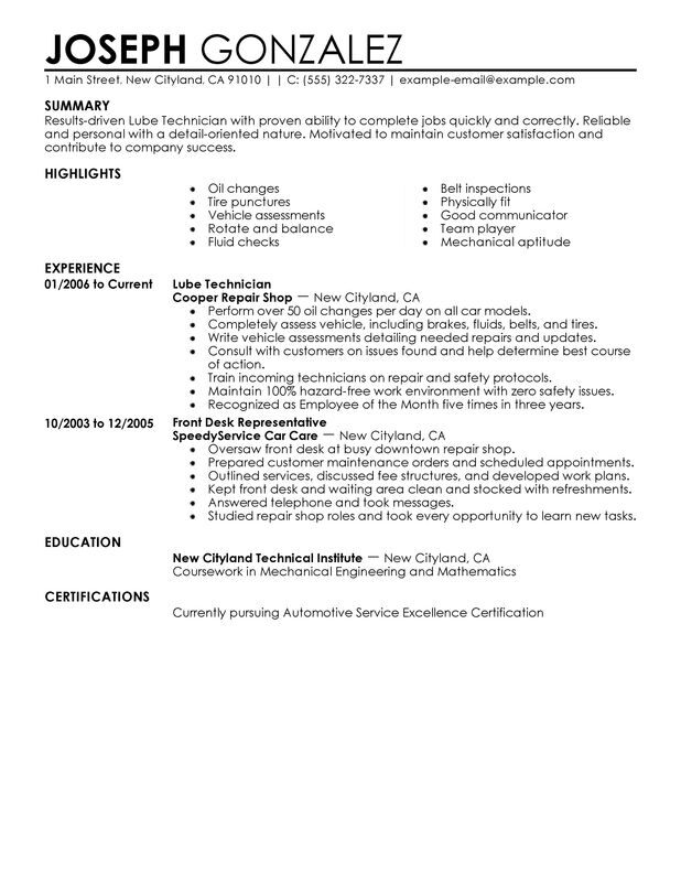 Lube Technician Resume Examples {Created by Pros} MyPerfectResume - automotive technician resume examples