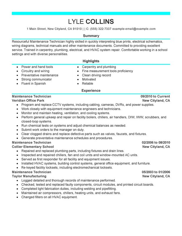 Maintenance Technician Resume Examples {Created by Pros - maintenance mechanic resume