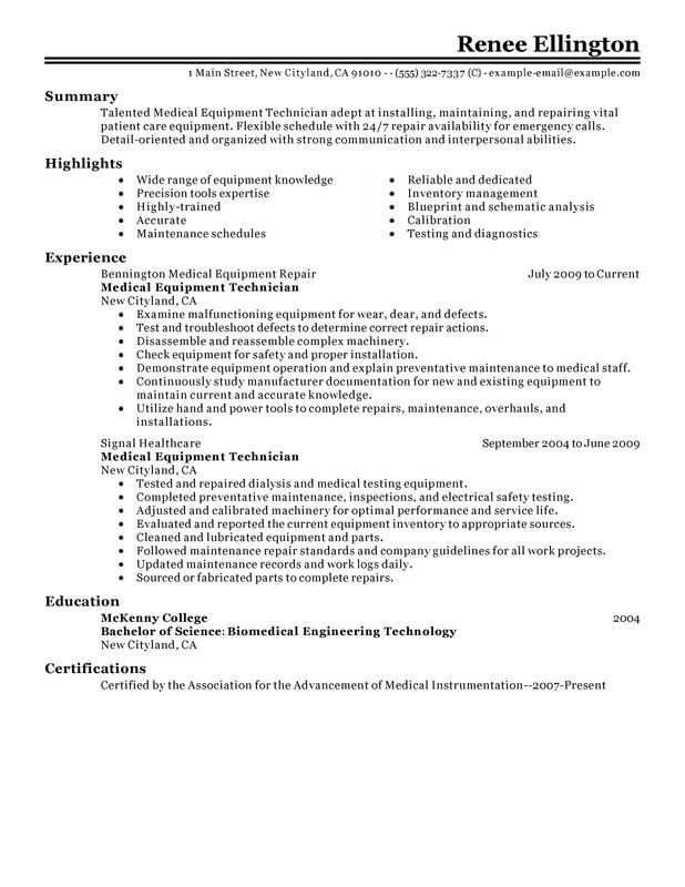 Unforgettable Medical Equipment Technician Resume Examples to Stand - biomedical engineering manager sample resume
