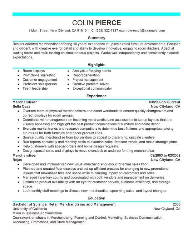 Unforgettable Merchandiser Retail Representative Part Time Resume - furniture sales resume sample