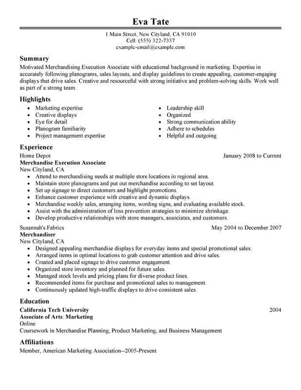 resume description for warehouse worker
