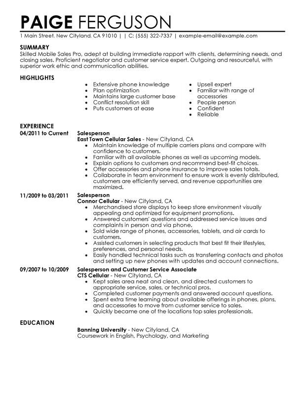 resume examples for phone sales
