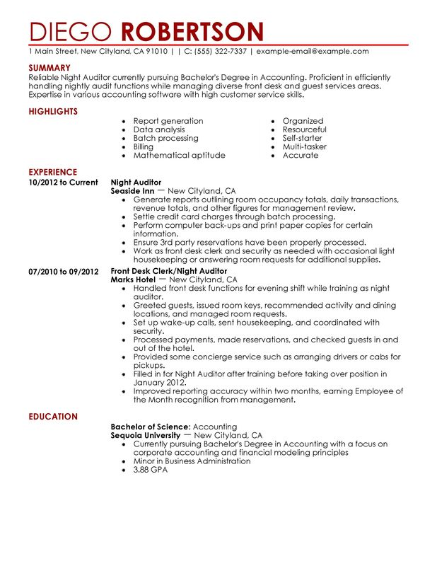 Night Auditor Resume Examples \u2013 Free to Try Today MyPerfectResume - auditor resume examples