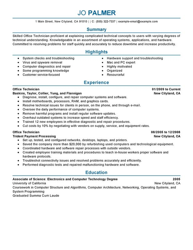 Office Technician Resume Examples \u2013 Free to Try Today MyPerfectResume