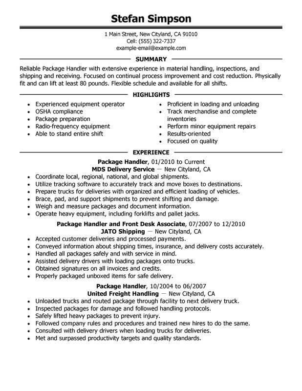 Package Handler Resume Examples \u2013 Free to Try Today MyPerfectResume - Shipping And Receiving Resume