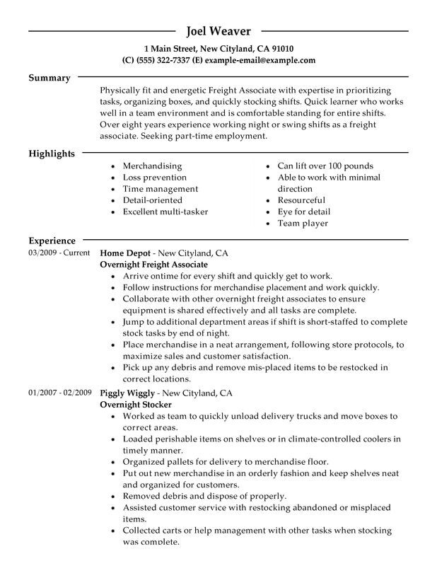 Part Time Overnight Freight Associates Resume Examples \u2013 Free to Try - Home Depot Resume
