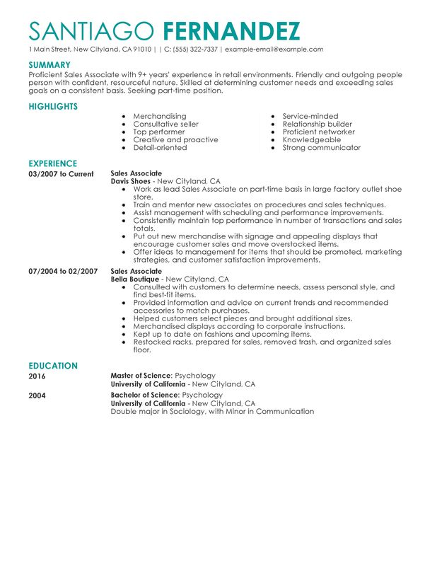 Unforgettable Part Time Sales Associates Resume Examples to Stand - experience resume sample