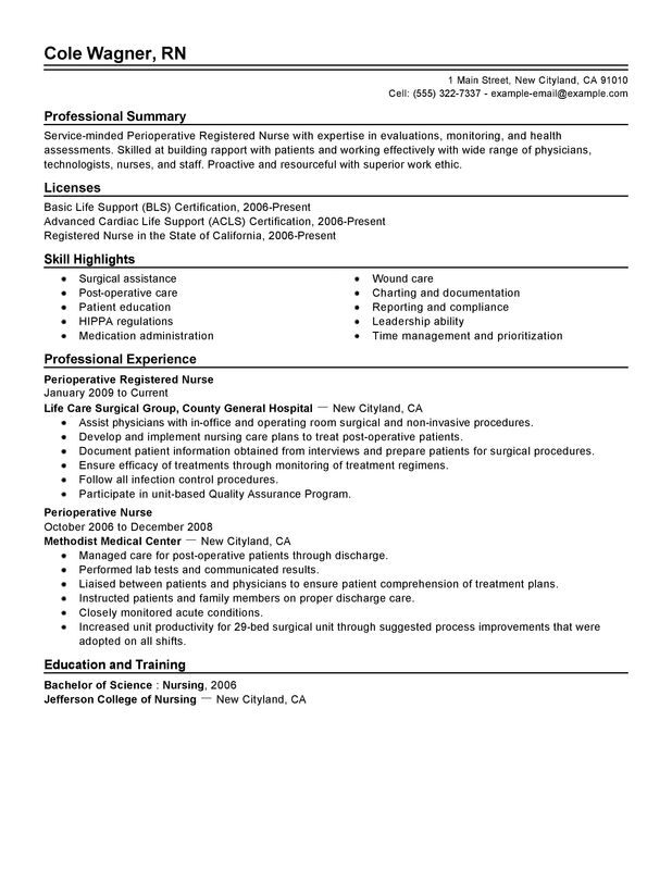 Perioperative Nurse Resume Examples \u2013 Free to Try Today