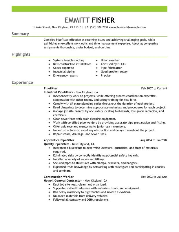 Pipefitter Resume Examples {Created by Pros} MyPerfectResume