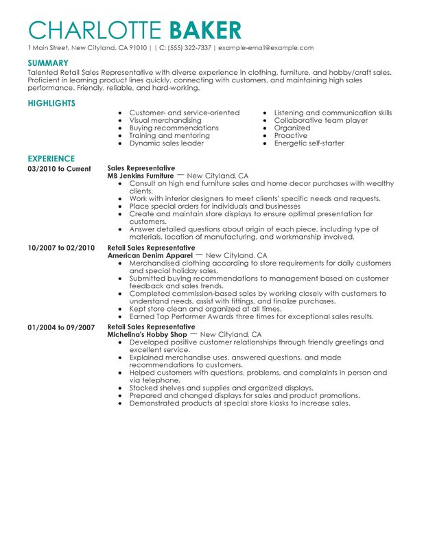 Rep Retail Sales Resume Examples \u2013 Free to Try Today MyPerfectResume - furniture sales associate sample resume