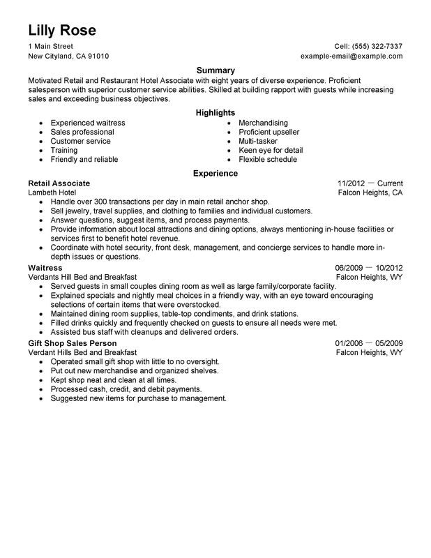 Retail and Restaurant Associate Resume Examples \u2013 Free to Try Today