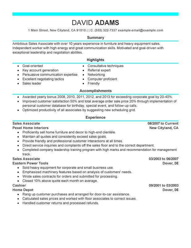 Unforgettable Sales Associate Resume Examples to Stand Out - furniture sales associate sample resume