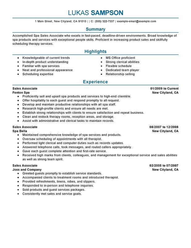 Sales Associate Resume Examples \u2013 Free to Try Today MyPerfectResume - sales associate on resume
