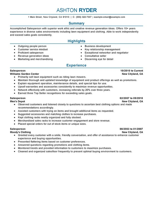 Retail Salesperson Resume Examples {Created by Pros} MyPerfectResume - experience resume sample