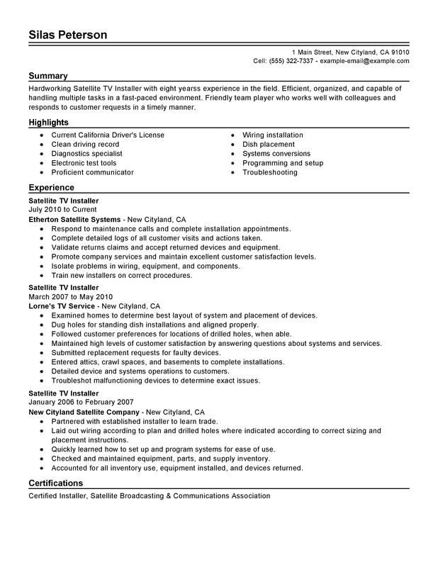 cable tv installer resume example