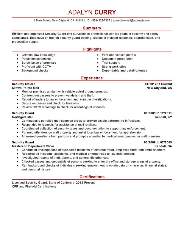 Security Guard Resume Examples {Created by Pros} MyPerfectResume - Sample Summary Of Qualifications On Resumes